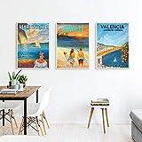 Martinica Hawaii Valencia ColeccióN Poster De Viaje Vintage Idea De Regalo ImpresióN En Lienzo Cuadros ArtíSticas De Pared para Decoracion del Hogar Pinturas 40x50cmx3 Sin Marco