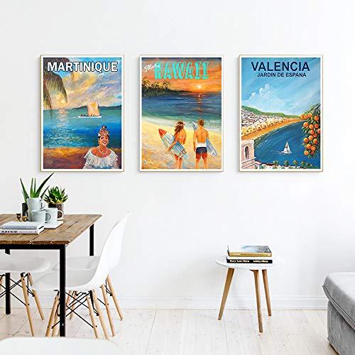 VVSUN Martinica Hawaii Valencia Carteles de Viaje Vintage Idea de Regalo Impresión en Lienzo Imágenes artísticas de Pared para Sala de Estar Decoración del hogar 50X70cm 20x28inchx3Pcs Sin Marco