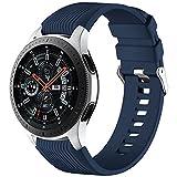 Mastten Correa de Silicona de 22mm Compatible con Samsung Galaxy Watch 3 45mm/Galaxy Watch 46mm/Gear S3 Frontier/Classic, Correas de Repuesto de Pulsera Deportiva de Silicona Suave, Azul Oscuro