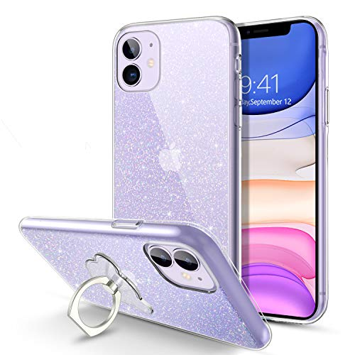 BENTOBEN iPhone 11 Case, Crystal Clear Glitter Sparkly Bling Slim Soft Rubber |360 Ring Holder Kickstand| Protective Shockproof Case Cover for Apple iPhone 11 6.1 Inch 2019 -Clear Glitter