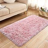 YJ.GWL Super Soft Faux Sheepskin Fur Area Rugs for Bedroom Floor Shaggy Plush Carpet Faux Fur Rug Bedside Rugs, 2.3 x 5 Feet Rectangle Pink
