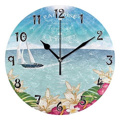 JUMBEAR - Reloj de pared con diseño de velero tropical, funciona con pilas, diseño de números árabes exactos, decorativo para el hogar, cocina, sala de estar, 10 pulgadas