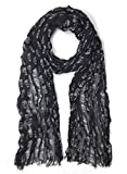 John Varvatos Star USA Men's Silk Blend Rows of Skulls Fashion Fringe Scarf Coal