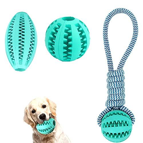 Ysislybin Juego de 3 pelotas de juguete para perros con cuerda, pelota de inteligencia para mascotas, no tóxica, resistente a mordedurable, limpieza de dientes, entrenamiento para masticar (azul)