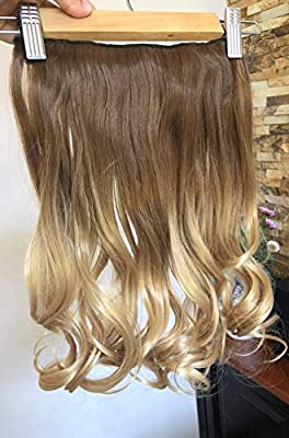 """DevaLook Hair Extensions 20"""" 25"""" Thick One Piece Straight Wavy Curly Half Head Ombre Clip in Hair Extensions"""