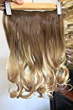 DevaLook Hair Extensions 17' 20' 25' Thick One Piece Straight Wavy Curly Half Head Ombre Clip in Hair Extensions (17 Inches = 120 grams, Light brown/sandy blonde)