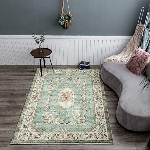 Taleta Greenish Teppich Blumen Orientalisch Weich Vintage Kurzflor für Wohnzimmer Grün Größe:120 x 170 cm