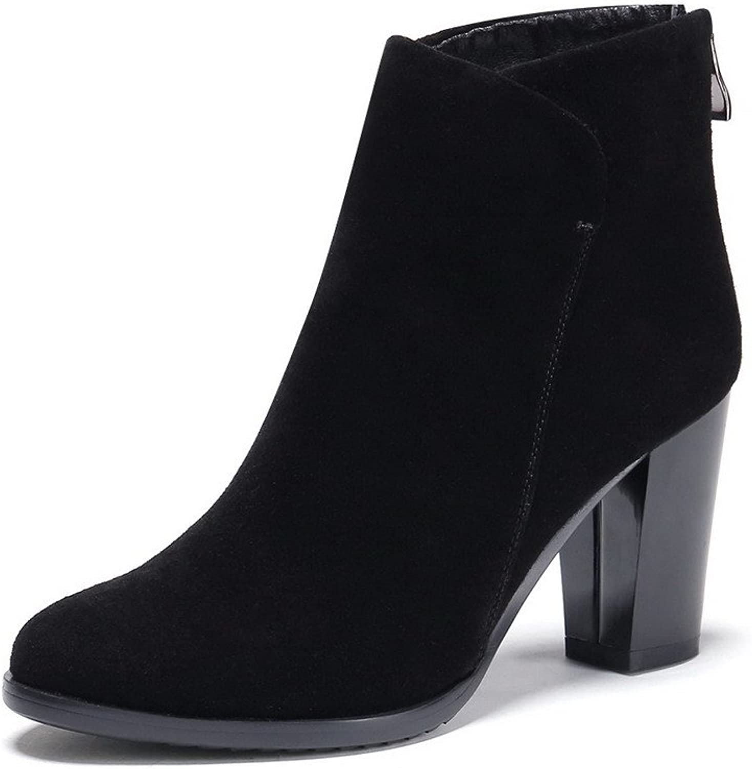 AmoonyFashion Women's Round-Toe Closed-Toe High-Heels Boots with Back Zipper