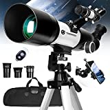 Telescope for Kids & Adults Astronomy - 70 mm Aperture 400 mm AZ Powerful Astronomical Telescope for Beginners for Stargazing Refractor Travel Telescope with Smartphone Adapter Wireless Remote