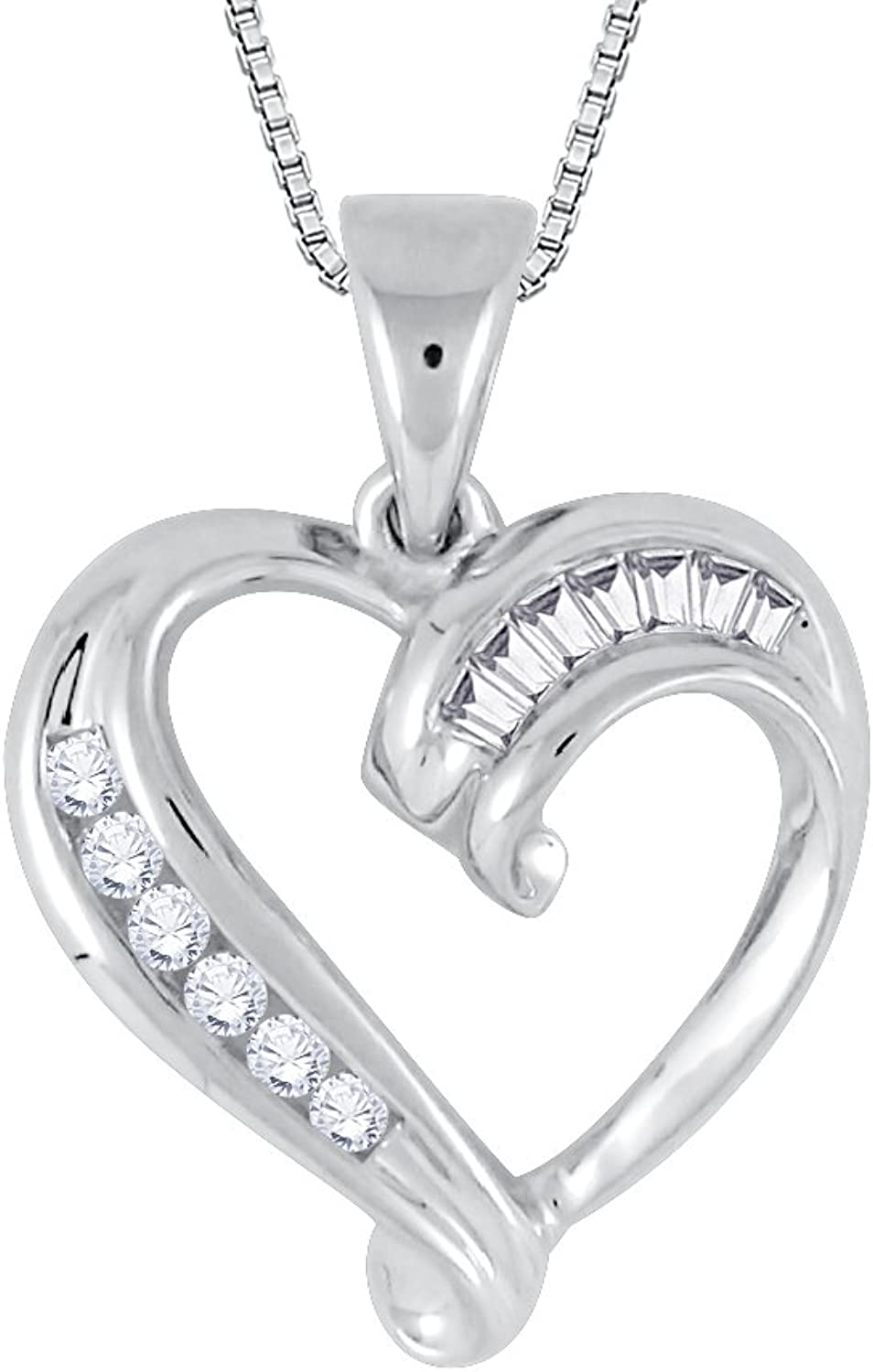 Baguette and Round Cut Diamond Heart Pendant with Chain in gold (1 4 cttw) (GHcolor I1 Clarity)