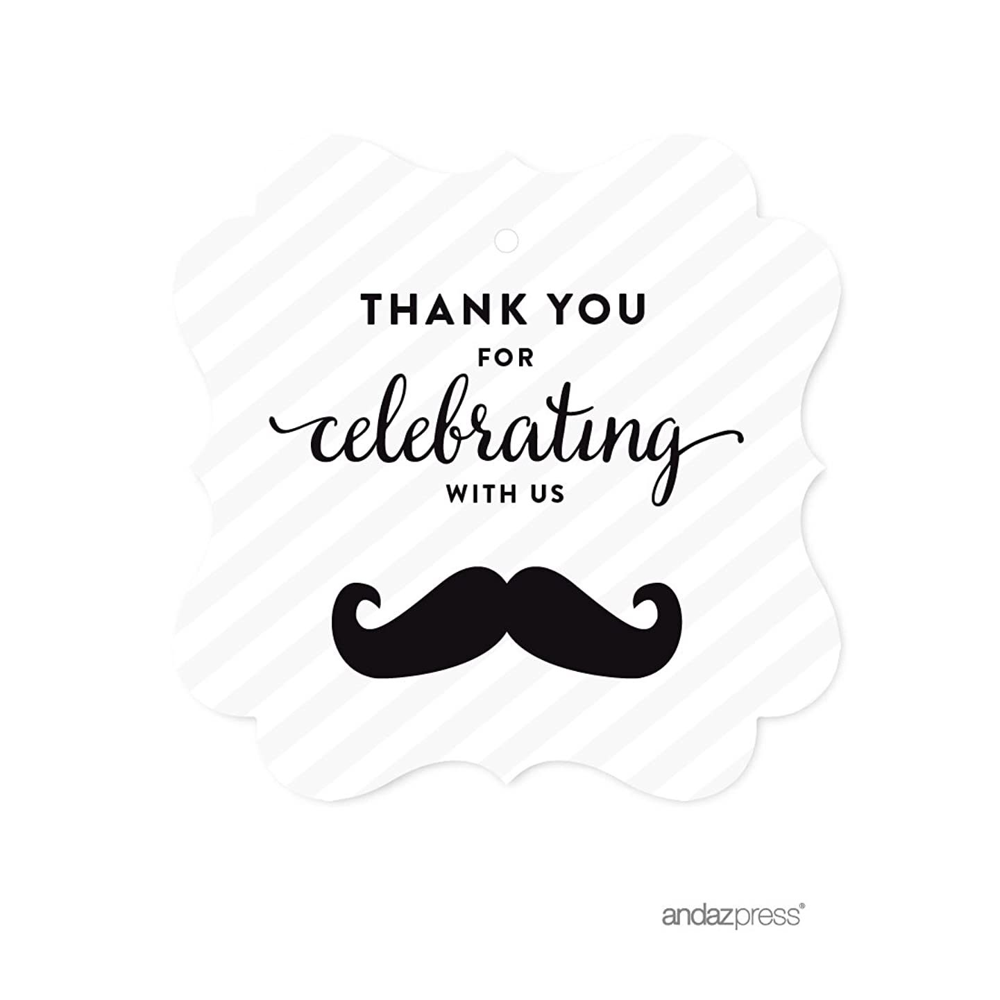 Andaz Press Birthday Fancy Frame Gift Tags, Thank You for Celebrating with Us, Mustache Black, 24-Pack, for Gifts and Party Favors
