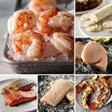 Exquisite Seafood Sampler from Omaha Steaks (Wild Argentinian Red Shrimp, Wild Alaskan Skin-On Sockeye Salmon, Mahi Mahi, Maine Lobster Tail Halves, Swordfish Steaks, Seasoned Butter Sauce, and more)