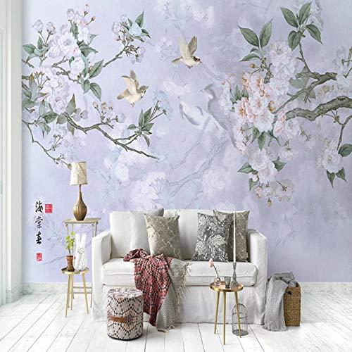 3D vliesbehang foto vlies premium fotobehang woonkamer slaapkamer achtergrond behang wandschilderij van de nieuwe bloemenvogels 3D 430*300cm #480