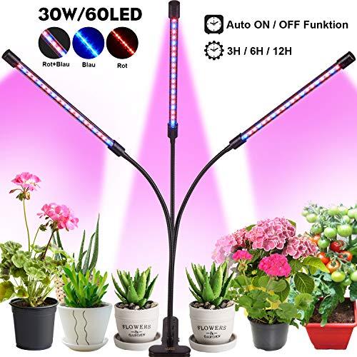 30W LED Pflanzenlampe with Auto Einschalt Funktion,60 LED Vollspektrum Grow Lampe Pflanzenlicht Pflanzenleuchte mit 3 Timer Funktion, 3 Modus, 4 Helligkeit, mit USB Adapter für Garten Zimmerpflanzen