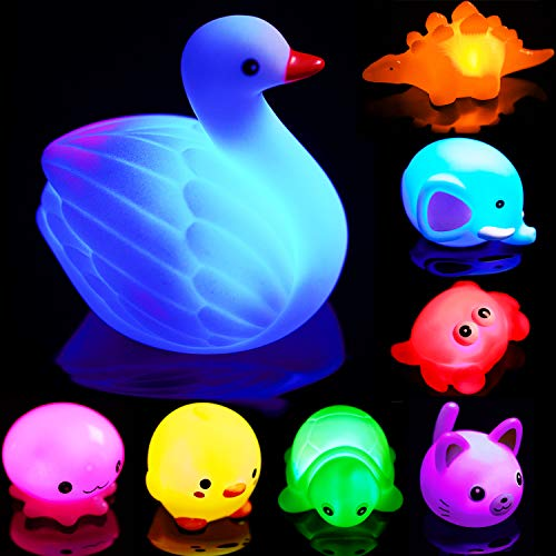Bath Toys for Toddlers Baby 8 Pack Light Up Toys - Bathtub Toy Flashing Colourful LED Light Shower Bathtime For Kids Infants Toddler Child Preschool Bathtub Bathroom Shower Games Swimming Pool Party