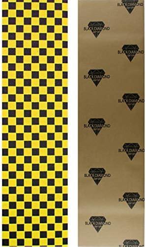 Black Diamond Skateboard Grip Tape Sheet Yellow Checker 9 x 33 Griptape product image