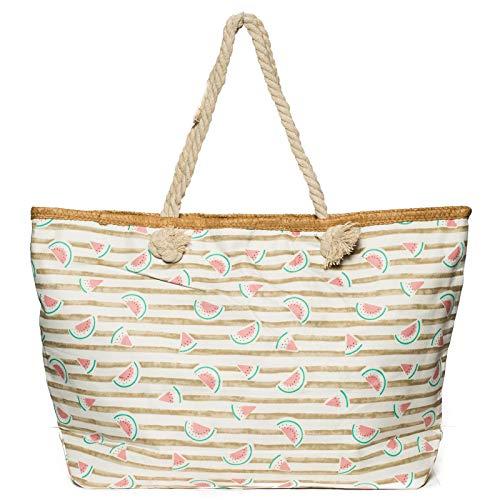 Kandharis Strandtasche Badetasche große Sommertasche Schultertasche Shopper mit Reissverschluss Melone Streifen Muster XL Damen ST-26 Beige