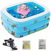 TGFVGHB Piscina inflable, bañeras infladas bañeras con bomba de aire eléctrica inflador plegable durable tinas hogar familia verano fiesta