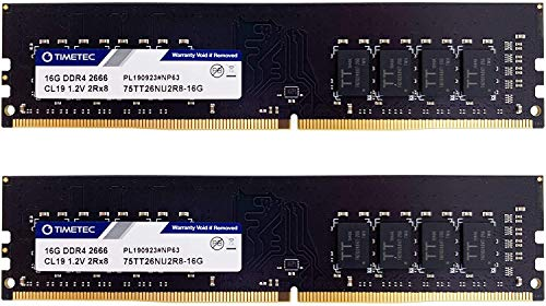 Timetec Hynix IC DDR4 2666MHz PC4-21300 Unbuffered Non-ECC 1.2V CL19 2Rx8 Dual Rank 288 Pin UDIMM Desktop Memory RAM Module Upgrade (32GB(2x 16GB))