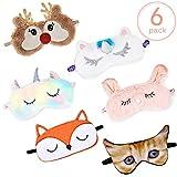 6 Pièces Masque pour Yeux des Animaux Masque de Sommeil en Peluche de Dessin Animé Bandeau pour Yeux Doux en Peluche pour Enfants Adultes