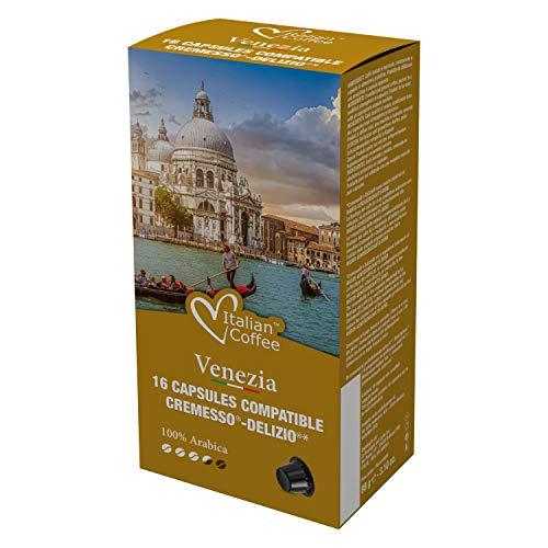 96 Capsule di caffè Italian Coffee compatibili con i sistemi Cremesso e Delizio (Venezia Arabica)