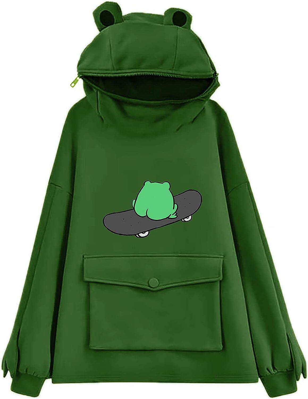 Hoodies for Women Zip Up Sweatshirts for Women, Trendy Teen Girls Long Sleeve Cartoon Skateboard Frog Hoodie Funny Pullover Jumper Hooded Tops