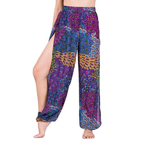 Lofbaz Pantalones De Yoga Harem De Corte Alto para Mujer Pijamas De Salón Sexy Pantalones Deportivos De Maternidad De Playa Pavo Real Morado L