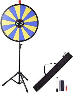 "WinSpin 24"" Floor Stand Prize Wheel LED Lights Tripod Fortune Spin Game 18 Slot Acrylic Board Carnival Tradeshow"