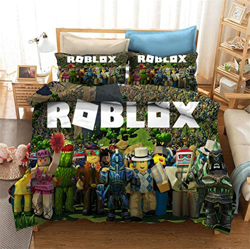 Enhome 3D Bedding Set - Quilt Cover with Zipper Closure + Pillowcases, Microfiber Duvet Cover Set Easy Care for Children Teen Adult Single Double King Bed (Roblox 1,135x200cm)