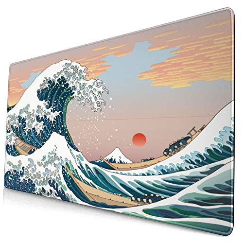 Franhais Ocean Gaming Mousepad Japanese The Great Wave Off Kanagawa Pattern Mouse Pad Computer Game Mouse Mat 29.5x15.8 Inch
