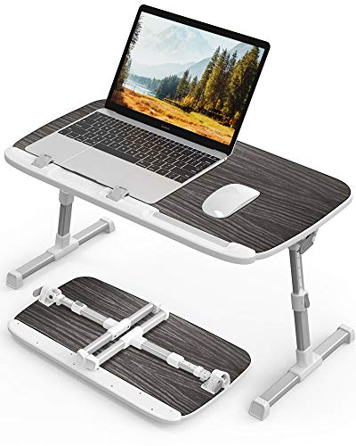 AboveTEK Mesa para Portátil Plegable para Cama, Laptop Desk de Desayuno con Ajustable Altura, Mesa para Portátil con 60 x 33 x (24-33) cm, Escritorio Portátil para Sofá/Oficina/Picnic