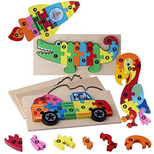 ROXENDA Holzpuzzle Animal Puzzle Lernspielzeug, Holzspielzeug Tier für Kinder, Dreidimensionales 3D-Puzzle Geeignet für Jungen und Mädchen über 1 Jahr, 4 Packs (Krokodil, Papagei, LKW, Rakete)