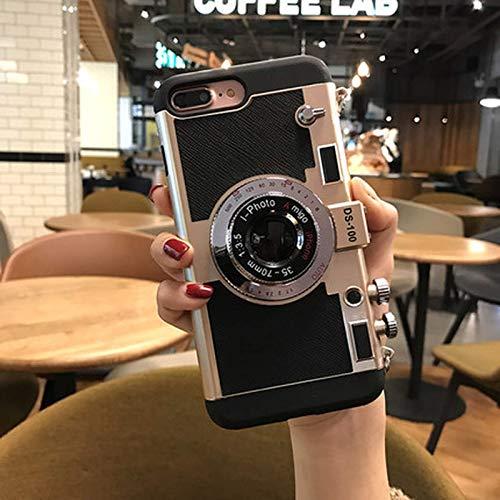 YOYOTECH Fundas para teléfono con cámara para iPhone XS MAX XR X Funda Trasera Ajustada Retro con cordón a Prueba de Golpes para iPhone 7 8 Plus 6 6s 11 Pro SE