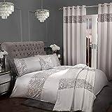 Sleepdown Juego edredón con Fundas de Almohada (220 cm x 230 cm), diseño de Lentejuelas, Color Gris, Poliéster y algodón, Plateado, Matrimonio
