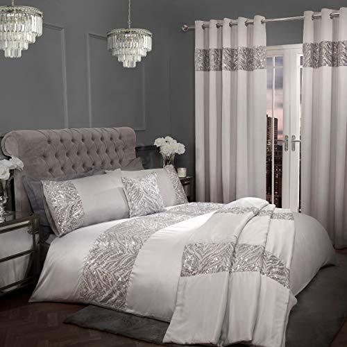 Sleepdown Juego de Funda de edredón con Fundas de Almohada, diseño de Lentejuelas, Color Gris Plateado, 200 cm x 200 cm, poliéster y algodón