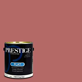 Prestige Paints E100-D-SW6319 Exterior Paint and Primer in One, 1-Gallon, Flat, Comparable Match of Sherwin Williams Reddish, 1 Gallon, SW33-Reddish