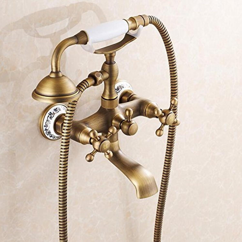 Electroplating Retro Faucet Antique bath shower faucet bronze porcelain shower faucet bathroom telephone bath faucet with hand shower bathroom shower tap,Multi