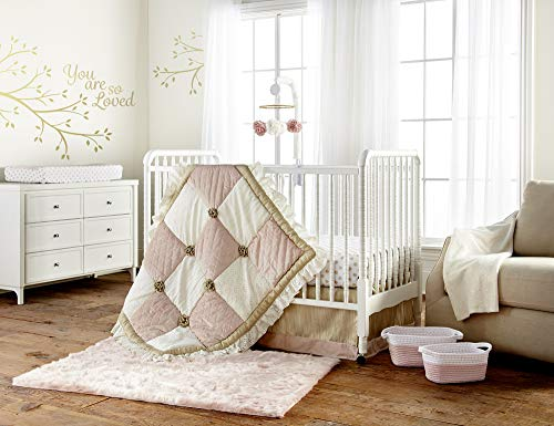 Levtex Baby - Aurora Crib Bed Set - Baby Nursery Set - Blush, Cream and Gold - Velvet, Lace, Woven Jacquard - 4 Piece Set Includes Quilt, Fitted Sheet, Wall Decal & Dust Ruffle