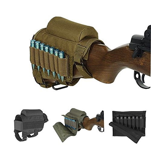 Wsobue Rifle Buttstock, Hunting Shooting Tactical Cheek Rest Pad Bolsa de municiones con 7 portacubetas (Cachi)
