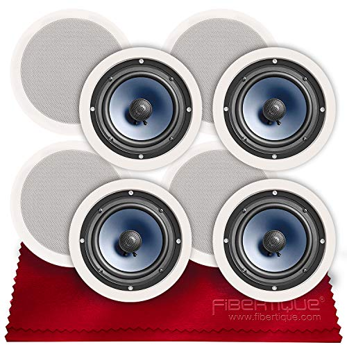 """Polk Audio RC80i 2-Way Premium in-Ceiling 8"""" Round Speakers (x4 Sets = 8 Speakers) (White, Paintable Grille) + Fibertique Cloth (Perfect for Damp & Humid Placement - Bath, Kitchen, Indoor Porch)"""