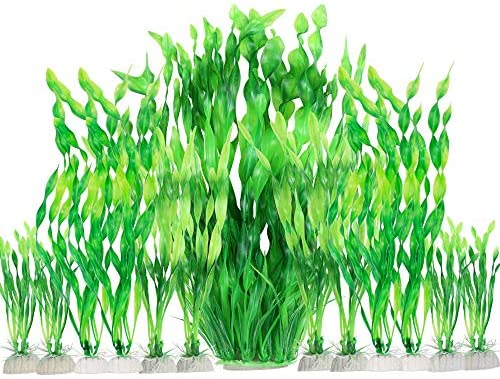 MyLifeUNIT Artificial Aquarium Plants 13 Pack Plastic Seaweed Water Plants for Fish Tanks Green product image