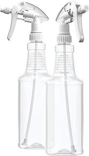 BAR5F Empty Plastic Spray Bottles 32 oz, BPA-Free Food Grade, Crystal Clear PETE1, White M-Series Fully Adjustable Sprayer...