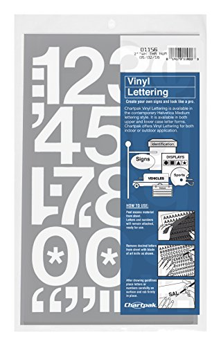 Chartpak Self-Adhesive Vinyl Numbers, 2 Inches High, White, 12 Numbers per Pack (01156)