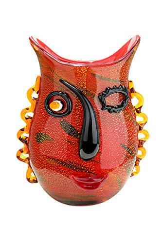 GILDE Glass Art - Vaso Decorativo Realizzato a Mano, in Vetro, Altezza 30 cm