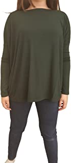 Piko Women's Famous Long Sleeve Bamboo Top Loose Fit - Dark Green S