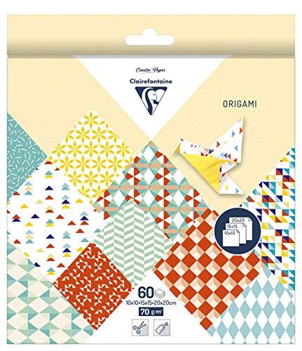 Clairefontaine 95346C Pack mit 60 Bögen Origamipapier (mit 3 Formaten, 10 x 10 cm, 15 x 15 cm, 20 x 20 cm, 70 g, Kaleido) 1 Pack