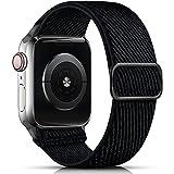 drivego Correa Compatible con Apple Watch 44mm 42mm, Correa Deportiva de Nailon Elástico Ajustable Compatible con Apple Watch SE Series 6 5 4 3 2 1, Negro