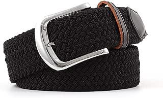 SGJFZD Men's Canvas Belt Elastic Woven Belt Fashionable Ladies Casual Elastic Belt (Color : Black, Size : 107 * 3.3cm)