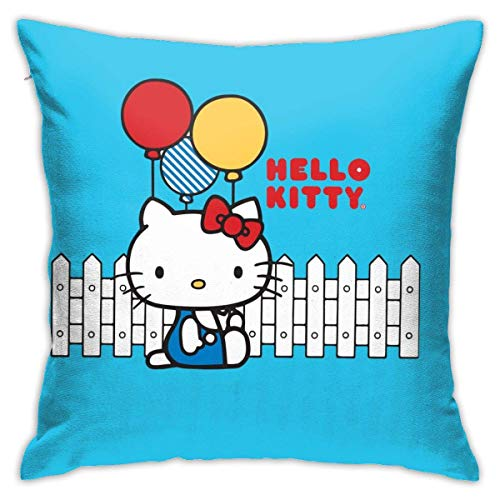 Suzanne Betty Federa per cuscino decorativo Hello Kitty con palloncino per casa, divano 45,5 x 45,5 cm