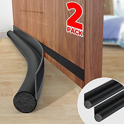 """Holikme 2 Pack Door Draft Stopper Adjustable Under Door Draft Blocker Insulator Door Sweep Weather Stripping,Suitable for Interior/Exterior Doors ,36"""" Length, Black"""